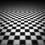 Render of checker board. White and black chess board with decorative stripes on the fields Stock Image