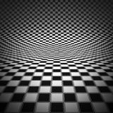 Render of checker board. White and black chess board with decorative stripes on the fields towards to top Royalty Free Stock Photo
