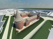 Render: citadelle. Visualisation: the historical citadel,new reconstructed Stock Image