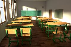 Render of classroom Stock Images