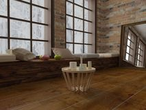 Render of Coffee table with candles, romantic spirit in modern loft Royalty Free Stock Image