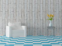 Render of comosition with blue tiles white sofa, yellow tulips in bowl and vintage hardwood wall Stock Photo