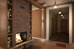 Render of the country house interior Stock Photos