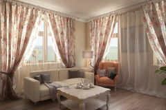 Render of the country house interior. Architectural visualization of the cozy and light interior in provence style Royalty Free Stock Images