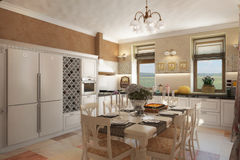 Render of the country house interior. Architectural visualization of the cozy and light interior in provence style Royalty Free Stock Photo