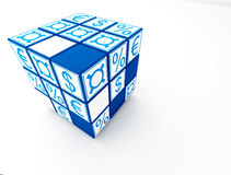Render cube maney. Blue cube with money sign on white background Stock Image