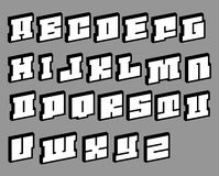 Render of cubic blocky pixel like alphabet Royalty Free Stock Images