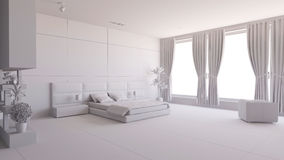 Render of a 3D bedroom Royalty Free Stock Photography