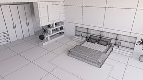 Render of a 3D bedroom Stock Photo