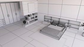 Render of a 3D bedroom Stock Photo