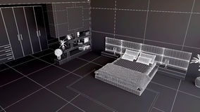 Render of a 3D bedroom Royalty Free Stock Image