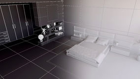 Render of a 3D bedroom Royalty Free Stock Images