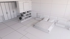 Render of a 3D bedroom Royalty Free Stock Photos