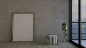 3D Contemporary Empty Room and picture frame. Render of 3D Contemporary Empty Room and picture frame Stock Illustration