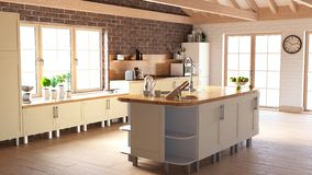 Render of 3D Contemporary kitchen. 3D render of a contemporary kitchen interior vector illustration