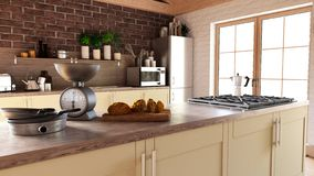 Render of 3D Contemporary kitchen. 3D render of a contemporary kitchen interior royalty free illustration