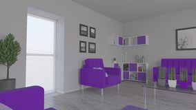 3D contemporary Living Room Interior and modern furniture. Render of 3D contemporary Living Room Interior and modern furniture stock illustration