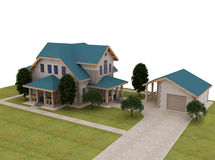 Render 3d cottage with a blue roof Stock Photography