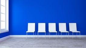 3D Row of chairs in contemporary Empty Room. Render of 3D Row of chairs in contemporary Empty Room Stock Illustration