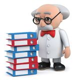 3d scientist character with pile of files in old folders. Render of a 3d scientist character with pile of files in old folders