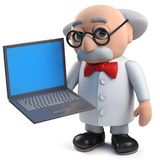3d scientist with his data on a laptop computer. Render of a 3d scientist with his data on a laptop computer