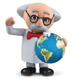 3d scientist holding a globe of the Earth. Render of a 3d scientist holding a globe of the Earth