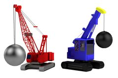 Render of destruction crane Royalty Free Stock Image