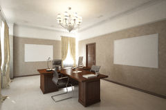 Render of the director`s office royalty free illustration