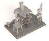 Render of drilling rig Royalty Free Stock Photo