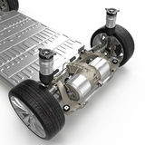 Render of electric car chassis isolated on white. 3D illustration. Render of electric car chassis isolated on white background. 3D illustration Stock Photos