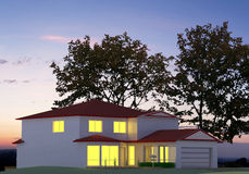 Render Evening House. 3D render evening building with lighted windows Stock Images