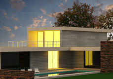Render Evening House. 3D render evening building with lighted windows Royalty Free Stock Photography