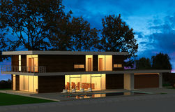 Render Evening House. 3D render evening building with lighted windows Stock Image