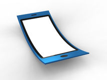 Blue Flexible Mobile. Render of flexible mobile on a white background stock illustration