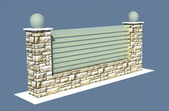 Render garden stone fence on blue Stock Images