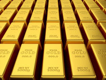 Render of gold bars background Stock Image