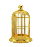 Render of golden birdcage cage isolated on white background Royalty Free Stock Photos