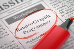 Render Graphic Programmer Job Vacancy. 3D. Royalty Free Stock Photo
