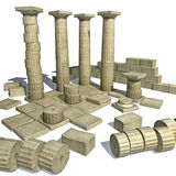 Render of  greek ruins with parthenon columns Stock Photography