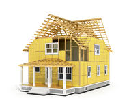 Render of house in construction process. Stock Image