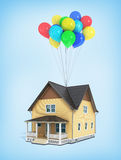 Render of house flying in the balloons. 3d render of house flying in the balloons on a blue background Stock Photography