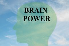 BRAIN POWER concept. Render illustration of BRAIN POWER title on head silhouette, with cloudy sky as a background Stock Photography