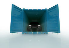Render illustration of a car inside of a blue container isolated Stock Photo