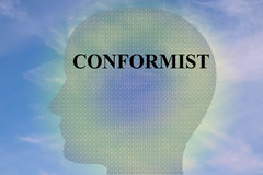 Conformist - mental concept. Render illustration of CONFORMIST title on head silhouette, with cloudy sky as a background Royalty Free Stock Photography