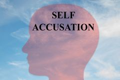 SELF ACCUSATION concept. Render illustration of SELF ACCUSATION title on head silhouette, with cloudy sky as a background stock illustration