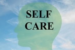SELF CARE concept. Render illustration of SELF CARE title on head silhouette, with cloudy sky as a background Royalty Free Stock Images