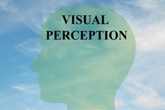 VISUAL PERCEPTION concept. Render illustration of VISUAL PERCEPTION title on head silhouette, with cloudy sky as a background Royalty Free Stock Images