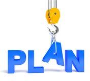 Render illustration of word plan Stock Images