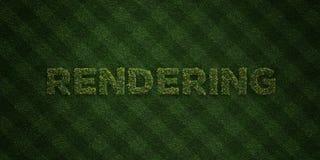 RENDER - letras frescas da grama com flores e dentes-de-leão - 3D rendeu a imagem conservada em estoque livre dos direitos Imagens de Stock