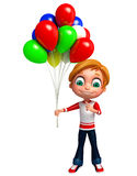 Render of Little boy with baloon Stock Photo